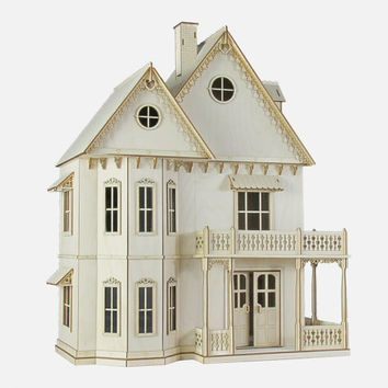 Gingerbread Victorian Dollhouse kit, 1:12 Scale Doll House kit.  Heart motif, wood.
