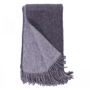 Charcoal and Ash Wool / Cashmere Double-Faced Throw