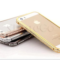 Bling Crystal Diamonds Rhinestone Perfume Series Metal Plastic 2 in 1 Cell Phone Bumper Case Cover With Retail Box For iPhone 5 5S