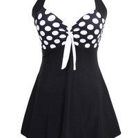 Black and White Plus Size Polka Dot More Cover Swimsuits