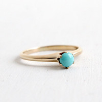 Antique Victorian 14k Yellow Rose Gold Turquoise Ring - Vintage Size 3 3/4 Edwardian Early 1900s Baby / Pinky Fine Jewelry