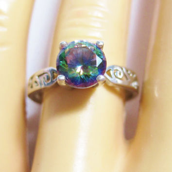 Mystic Topaz Ring Sterling Filigree Solitaire Engagement Size 7