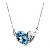 Lovers2009 Navy blue Silver Korea Cute Jewelry Love Letters Heart Shape Pendant Crystal Necklace