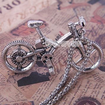 Vintage Antique Silver Bicycle Pendant Chain Necklace at Online Cheap Vintage Jewelry Store Gofavor