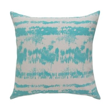 Tie-Dye Square Printed Accent Pillow Cover - Aqua