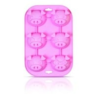 "Siliconezone Piggy Collection 9.6"" Non-Stick Silicone Muffin Mold, Pink"