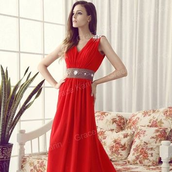 V NECK Long Evening Formal Bridesmaid Wedding Ball Gown Prom Party Dress PLUS +