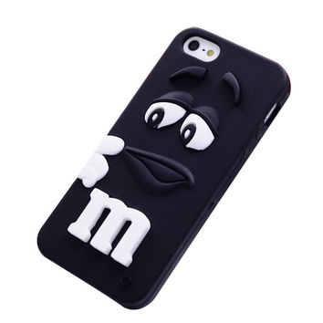 M&M's Chocolate Beans Soft Silicon Phonecase for iPhone 5c (Black).