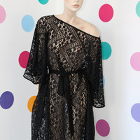 "WAS 99 NOW 79 Dollars/Handmade maxi plus size oversized batsleeve black lace tunic caftan dress called ""A secret whisper"""