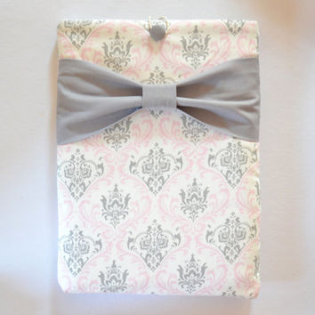 "Macbook Air 11"" Sleeve MAC Macbook Air 11 inch Laptop Computer Case Cover Grey, White & Pink Damask with Grey Bow"