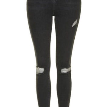 MOTO Washed Black Ripped Jamie Jeans - Washed Black