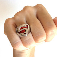 Superman Red Kryptonite Ring - Stainless Steel