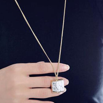 White Marble Cube Drop Necklace