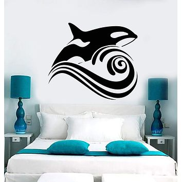 Vinyl Wall Decal Killer Whale Wave Sea Ocean Style Stickers (2234ig)