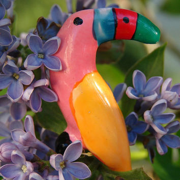 Vintage Toucan - Bright, Vibrant Colorful Bird Brooch / Pin - Handmade - FREE SHIPPING - Bird, Birds, Nature, Wildlife, For Her, Wings, Fly