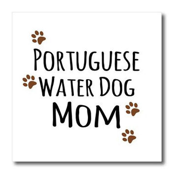 3dRose ht_154177_3 Portuguese Water Dog Mom Doggie Breed Paw Doggy Love Proud Pet Owner- Iron on Heat Transfer, 10 by 10-Inch, For White Material