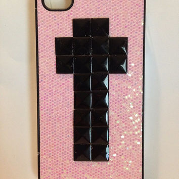 Studded iPhone 4 glitter phone case by GlitterLovers on Etsy