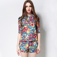Printed Half Sleeve Top with Shorts Set