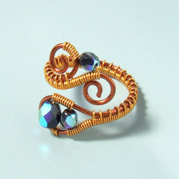 Black glass ring, copper wire wrapped jewelry, cool birthday gift for her