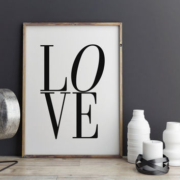 Typography Poster Love Print Wall Art Quote Print Nietzsche Quote Love Quote Print Black and White Print Large Typography Print TYPOGRAPHY