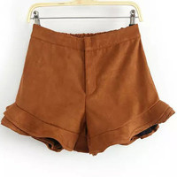 Khaki Flouncy-hem High-waist Shorts