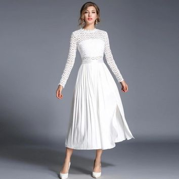 2017 Autumn Women Lace Patchwork Pleated Maxi Dress Vestidos Fashion Robe Slim Long Sleeve O-neck White Evening Party Dresses