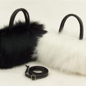 Womens Girls Trendy Faux Rabbit Fur Clutch Shoulder Bag Purse Handbag Tote New = 1931699844