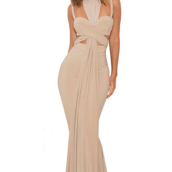 Clothing : Max Dresses : 'Nou' Taupe Crossover Bust Maxi Dress
