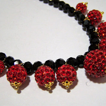 Dangling Red Rhinestone Balls Necklace, with Faceted Black Glass Beads, Magnetic Clasp, Sparkly Jewelry, Special Occasion 118