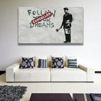 Banksy Quote Follow Your Dreams Wall Art Canvas Print -Dream Cancelled Printing - Pessimistic Street Art Graffiti Printable Painting