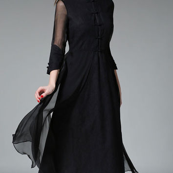 Vintage Style Stand Collar Single-breasted Three-quarter Sleeve Linen Stitching Silk Midi Swing Dress