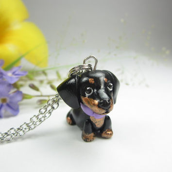 Dachshund Charm or Pendant - dachshund jewelry , dog jewelry , key chain polymer clay