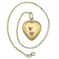 Diamond and Ruby, Seed Pearl and 18 ct Yellow Gold Heart Pendant - Antique Circa 1900