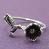 Sterling Silver Hummingbird and Flower Ring