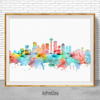 Seattle Art Seattle Skyline Seattle Print, Seattle Washington, Office Decor, City Skyline Prints, City Wall Art, Cityscape Art, ArtPrintZone
