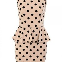 Polka Dot Print Peplum Dress