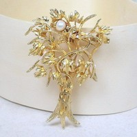 Vintage Money Tree Brooch Goldtone with Pearl Large 65mm