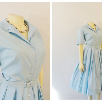 Vintage Dress 50s Georgia Griffin Fashions Sky Blue Shirtwaist Dress Triple Pleated Skirt Matching Belt Modern Medium