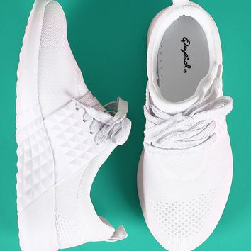 Qupid Knit Pyramid Embossed Lace Up Sneaker