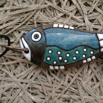 Blue handmade ceramic necklace for women,men. Unisex fish necklace.Nautical necklace.Spring gift.Unique accessories. Pendant for men.Fishing