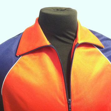 1970's West Germany Wunderlick Sport Diolen Retro Red and Blue Mens Track Jacket