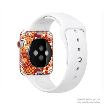 The Abstract Vector Gold & White Circle Swirls Full-Body Skin Kit for the Apple Watch