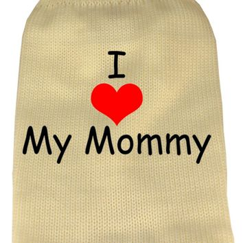 I Heart Mommy Screen Print Knit Pet Sweater Sm Cream
