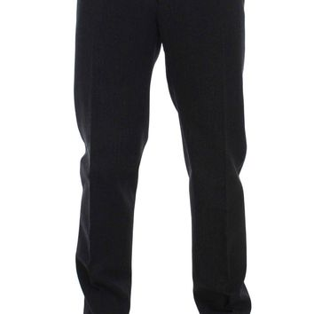 Gray Wool Cotton Slim Fit Pants