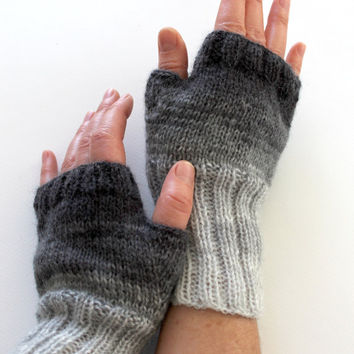 Dark Gray Arm Warmer Knitting Fingerless Gloves / Batik colors./ Black and Grey. / Arm Mittens. / Valentines days. Spring fashion . HandKnit
