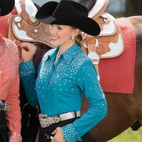 Women's Rhinestone Time Turquoise Blouse - Western Show Clothing - Women's