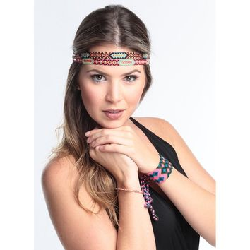 Wayuu Braided Headband - Aztec Red