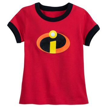 Licensed cool The Incredibles 2 Movie Logo Ringer T-Shirt for Girls Tee Disney Store 2/3-14
