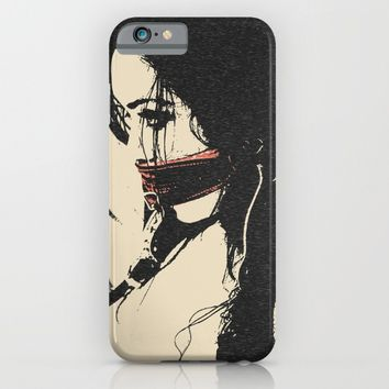 Dark BDSM, brunette slave girl in bondage, sexy erotic artwork, woman tied and gagged fetish dungeon iPhone & iPod Case by Peter Reiss