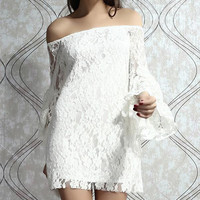 Fashion Women Lady Half Trumpet Sleeves Girls Lace White Two-piece Dress Sexy Fashion Dresses Clubwear For Summer Autumn